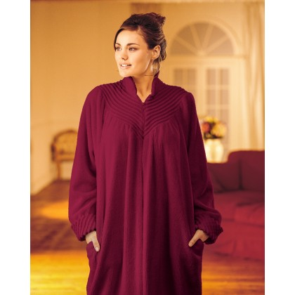 Soft Cotton Chenille Zip Dressing Gown In Loganberry e0d627b3e