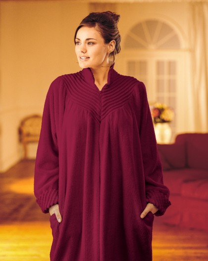 Long Soft Cotton Chenille Zip Dressing Gown In Loganberry