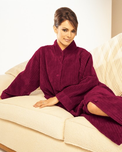 Soft Button Closure Cotton Chenille Dressing Gown In Loganberry