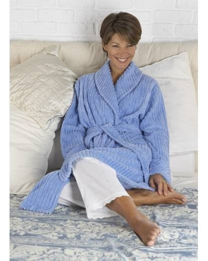 Soft Cotton Chenille Shawl Collar Dressing Gown